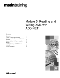 Module 5: Reading and  Writing XML with  ADO.NET
