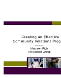Creating an Effective Community Relations Program