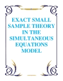 EXACT SMALL SAMPLE THEORY IN THE SIMULTANEOUS EQUATIONS MODEL