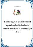 Benthic algae as bioindicators of agricultural pollution in the streams and rivers of southern Que´bec