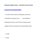 Business English Lesson – Advanced Level's archiveCorporate Social Responsibility
