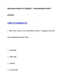 Business Idioms in English – Intermediate level'sarchiveLetter of Complaint (3)