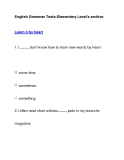 English Grammar Tests-Elementary Level's archiveLearn it by heart
