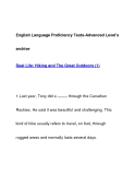 English Language Proficiency Tests-Advanced Level'sarchiveReal Life: Hiking and The Great