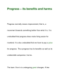 Progress – its benefits and harms