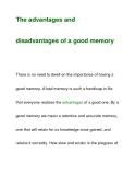 The advantages anddisadvantages of a good memory
