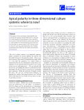 """Báo cáo sinh học: """"Apical polarity in three-dimensional culture systems: where to now"""""""