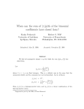 "Báo cáo toán học: ""When can the sum of (1/p)th of the binomial coefficients have closed form"""
