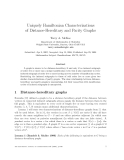 "Báo cáo toán học: ""Uniquely Hamiltonian Characterizations of Distance-Hereditary and Parity Graphs"""
