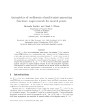 """Báo cáo toán học: """"Asymptotics of coefficients of multivariate generating functions: improvements for smooth points"""""""