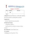 Giáo án Tiếng Anh lớp 11: UNIT 2: PERSONAL EXPERIENCES-SPEAKING