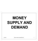 Money Supply And Demand