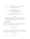 "Báo cáo toán học: ""A recurrence relation for the ""inv"" analogue of q-Eulerian polynomials"""