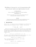 """Báo cáo toán học: """"MacMahon's theorem for a set of permutations with given descent indices and right-maximal record"""""""