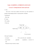 Giáo án Tiếng Anh lớp 10: Unit4 : LEARNING A FOREIGN LANGUAGE Lesson 1: Getting Started, Listen and read