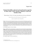 "Báo cáo khoa học: ""Natural durability, physical and mechanical properties of Atlas cedar (Cedrus atlantica Manetti) wood from Southern Italy"""