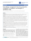 "Báo cáo y học: ""Food allergy management from the perspective of patients or caregivers, and allergists: a qualitative study"""
