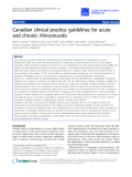 """Báo cáo y học: """" Canadian clinical practice guidelines for acute and chronic rhinosinusitis"""""""
