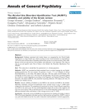 "Báo cáo y học: ""he Alcohol Use Disorders Identification Test (AUDIT): reliability and validity of the Greek version"""