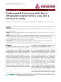 """Báo cáo y học: """" Psychological distress among patients of an orthopaedic outpatient clinic: a study from a low-income country"""""""