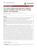"Báo cáo y học: ""The Factors Influencing Depression Endpoints Research (FINDER) study: final results of Italian patients with depressio"""