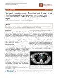 "Báo cáo khoa học: "" Surgical management of mediastinal liposarcoma extending from hypopharynx to carina: Case report"""