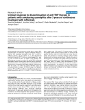 "Báo cáo y học: ""Clinical response to discontinuation of anti-TNF therapy in patients with ankylosing spondylitis after 3 years of continuous treatment with infliximab"""