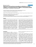 """Báo cáo y học: """"Expression and functional properties of antibodies to tissue inhibitors of metalloproteinases (TIMPs) in rheumatoid arthritis"""""""