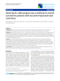 """Báo cáo khoa học: """" Stereotactic radiosurgery may contribute to overall survival for patients with recurrent head and neck carcinoma"""""""
