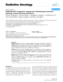 """Báo cáo khoa học: """"FDG-PET/CT imaging for staging and radiotherapy treatment planning of head and neck carcinoma"""""""