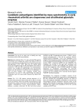 """Báo cáo y học: """"Candidate autoantigens identified by mass spectrometry in early rheumatoid arthritis are chaperones and citrullinated glycolytic enzyme"""""""