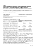 """Báo cáo y học: """"Use of methotrexate therapy is not associated with decreased prevalence of metabolic syndrome – authors' respons"""""""