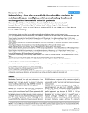 "Báo cáo y học: ""Determining a low disease activity threshold for decision to maintain disease-modifying antirheumatic drug treatment unchanged in rheumatoid arthritis patients"""