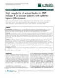 "Báo cáo y học: ""High prevalence of autoantibodies to RNA helicase A in Mexican patients with systemic lupus erythematosus"""