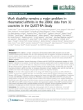 """Báo cáo y học: """" Work disability remains a major problem in rheumatoid arthritis in the 2000s: data from 32 countries in the QUEST-RA Study"""""""