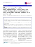 "Báo cáo y học: "" Efficacy and safety of an antiviral Iota-Carrageenan nasal spray: a randomized, double-blind, placebo-controlled exploratory study in volunteers with early symptoms of the common cold"""