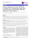 """Báo cáo y học: """"  Genome sequences of Human Adenovirus 14 isolates from mild respiratory cases and a fatal pneumonia, isolated during 2006-2007 epidemics in North America"""""""