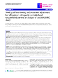 "Báo cáo y học: ""Weekly self-monitoring and treatment adjustment benefit patients with partly controlled and uncontrolled asthma: an analysis of the SMASHING study"""