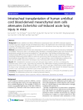 "Báo cáo y học: "" Intratracheal transplantation of human umbilical cord blood-derived mesenchymal stem cells attenuates """
