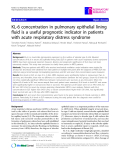 "Báo cáo y học: ""  KL-6 concentration in pulmonary epithelial lining fluid is a useful prognostic indicator in patients with acute respiratory distress syndrome"""