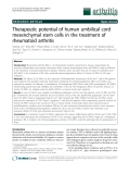 "Báo cáo y học: ""Therapeutic potential of human umbilical cord mesenchymal stem cells in the treatment of rheumatoid arthritis"""