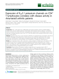 "Báo cáo y học: "" Expression of K2P5.1 potassium channels on CD4+ T lymphocytes correlates with disease activity in rheumatoid arthritis patients"""