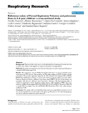 """Báo cáo y học: """" Reference values of Forced Expiratory Volumes and pulmonary flows in 3–6 year children: a cross-sectional study"""""""