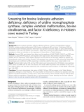 """Báo cáo khoa học: """"Screening for bovine leukocyte adhesion deficiency, deficiency of uridine monophosphate synthase, complex vertebral malformation, bovine citrullinaemia, and factor XI deficiency in Holstein cows reared in Turkey"""""""