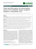 "Báo cáo y học: "" Potent anti-inflammatory and antinociceptive activity of the endothelin receptor antagonist bosentan in monoarthritic mice"""