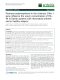 """Báo cáo y học: """"Promoter polymorphisms in the chitinase 3-like 1 gene influence the serum concentration of YKL40 in Danish patients with rheumatoid arthritis and in healthy subjects"""""""
