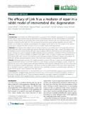 "Báo cáo y học: ""The efficacy of Link N as a mediator of repair in a rabbit model of intervertebral disc degeneration"""