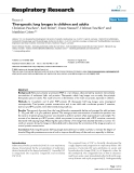"Báo cáo y học: ""  Therapeutic lung lavages in children and adults"""