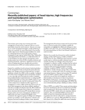 """Báo cáo y học: """"Recently published papers: of head injuries, high frequencies and haemodynamic optimization"""""""