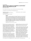 """Báo cáo khoa học: """" How to compare adequacy of algorithms to control blood glucose in the intensive care unit"""""""